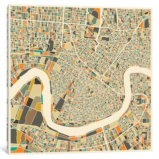 iCanvas 'Abstract City Map of New Orleans' by Jazzberry Blue Canvas Print