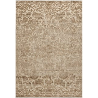 Martha Stewart by Safavieh Heritage Bloom Dune / Brown / Cream Viscose / Chenille Area Rug (6'7 x 9'