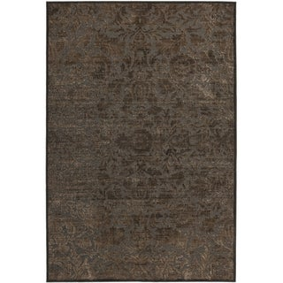Martha Stewart by Safavieh Heritage Bloom Zinc / Brown Viscose / Chenille Area Rug (5'3 x 7'6)