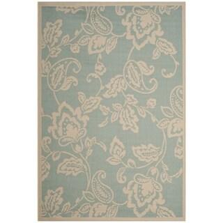 Martha Stewart by Safavieh Highland Lily Aqua / Beige / Blue / Beige Area Rug - 6'7 x 9'6