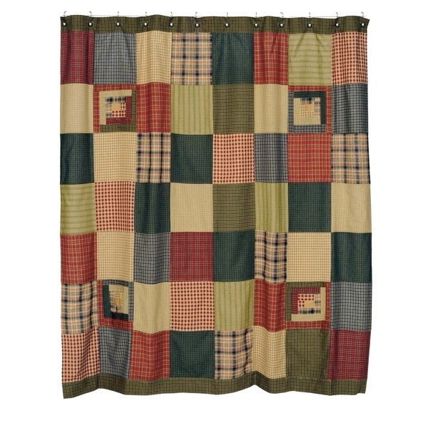 DAWSON STAR Patchwork Shower Curtain Plaid Brown Primitive Rustic Lodge Cabin