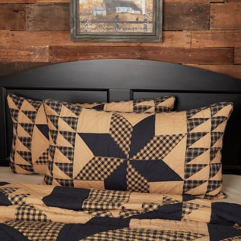 Black Primitive Bedding VHC Dakota Star Sham Cotton Star Patchwork