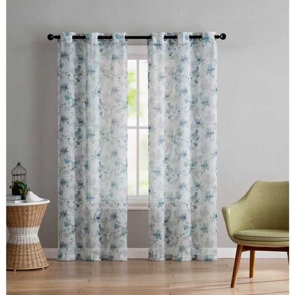 Winston Porter Simpson Nature Floral Semi Sheer Grommet: Shop VCNY Home Jasmine Panel Pair