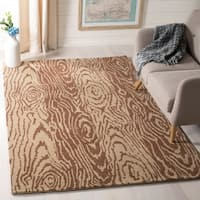 Martha Stewart by Safavieh Layered Faux Bois Sequoia / Brown / Tan Wool Area Rug - 5' x 8'