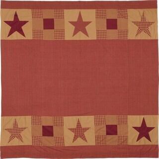 Red Primitive Bath VHC Ninepatch Star Patchwork Border Shower Curtain Rod Pocket Cotton Star Appliqued