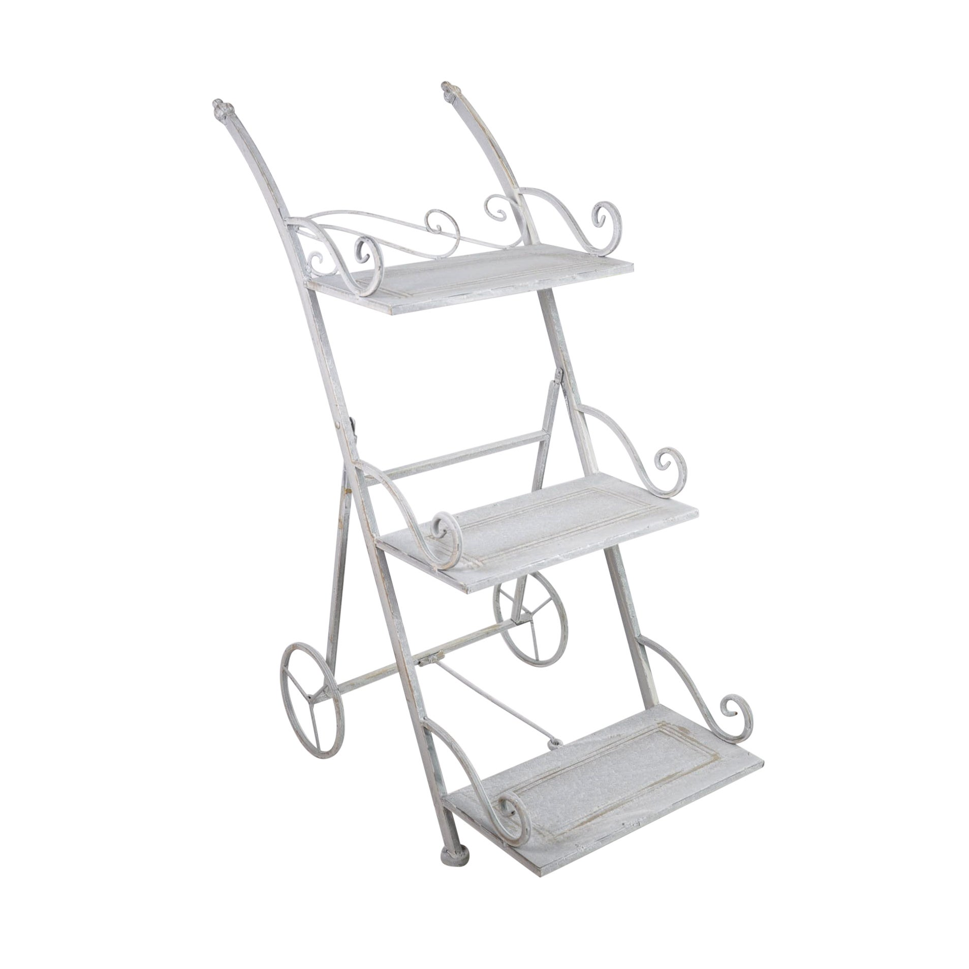 Jeco Orchies Metal 3-tiered Plant Stand (3-tiered), White...