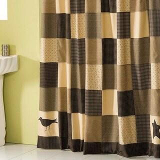 Black Primitive Bath VHC Kettle Grove Shower Curtain Button Holes for Shower Hooks Cotton Star Appliqued