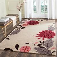 Martha Stewart by Safavieh Picture Block Floral Ivory / Beige / Red Wool Area Rug - 5' x 8'