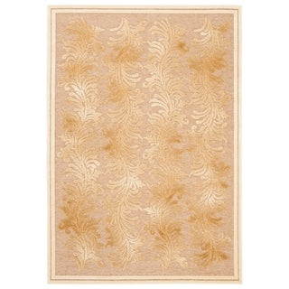 Martha Stewart by Safavieh Plume Stripe Creme / Cream / Beige Viscose Area Rug (5'3 x 7'6)