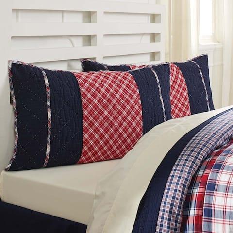 Blue Farmhouse Bedding VHC Carter Sham Cotton Patchwork Textured