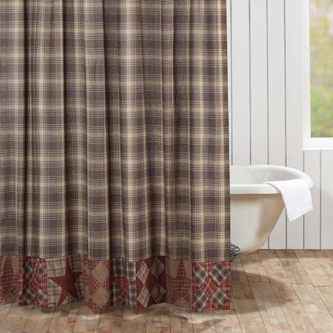 Brown Rustic Bath VHC Dawson Star Shower Curtain Rod Pocket Cotton Star Patchwork