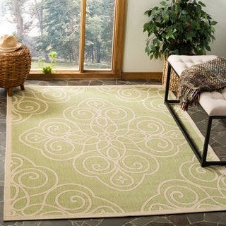 Martha Stewart by Safavieh Rosamond Lily Pad / Green / Cream Area Rug (5'3 x 7'7)
