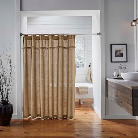 Farmhouse Bath VHC Cotton Burlap Shower Curtain Rod Pocket Cotton Solid Color