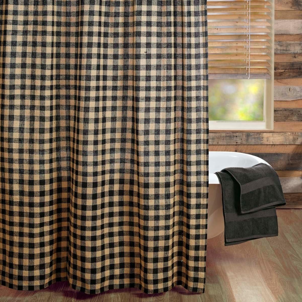 Black Primitive Bath Vhc Burlap Black Check Shower Curtain Rod Pocket Cotton Check Cotton Burlap