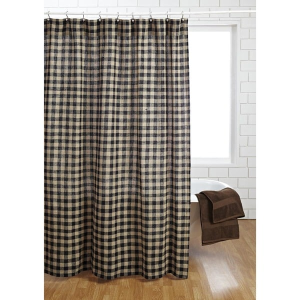 Shop Burlap Black Check Shower Curtain