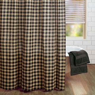 Burlap Black Check Shower Curtain