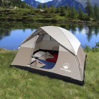 4-Person Tent, Water Resistant Dome Tent for Camping With Removable Rain Fly And Carry Bag (Tan) By Wakeman Outdoors