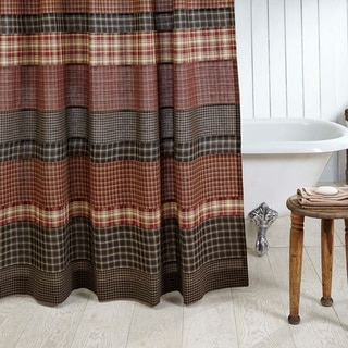 Red Rustic Bath VHC Beckham Shower Curtain Rod Pocket Cotton Striped