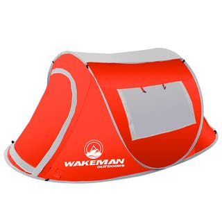 Pop-up Tent 2 Person, Water Resistant Barrel Style Tent for Camping With Rain Fly And Carry Bag By Wakeman Outdoors|https://ak1.ostkcdn.com/images/products/15439677/P21889719.jpg?impolicy=medium