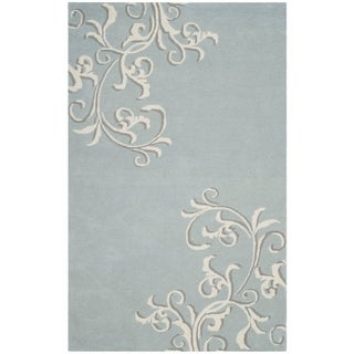 Martha Stewart by Safavieh Avalon Vine Soft Aqua / Blue Wool Area Rug (8' x 10')