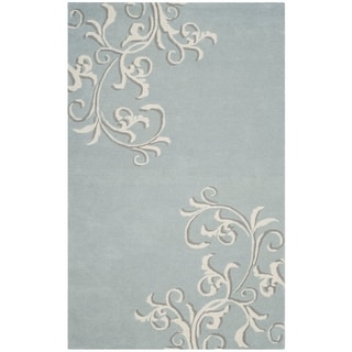 Martha Stewart by Safavieh Avalon Vine Soft Aqua / Blue Wool Area Rug (9' x 12')