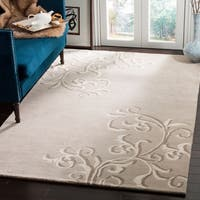 Martha Stewart by Safavieh Avalon Vine Soft Grey / Grey Wool Area Rug - 9' x 12'