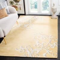Martha Stewart by Safavieh Avalon Vine Soft Yellow / Beige Wool Area Rug - 8' x 10'