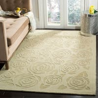 Martha Stewart by Safavieh Block Print Rose Saguaro / Beige Wool Area Rug - 8' x 10'