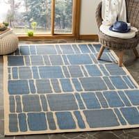 Martha Stewart by Safavieh Blocks / Cream / Blue Area Rug (8' x 11'2)
