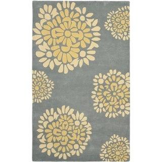 Martha Stewart by Safavieh Cement / Blue / Yellow Wool Area Rug (9' x 12')