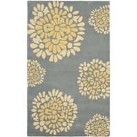 Martha Stewart by Safavieh Grey / Blue / Yellow Wool Area Rug - 9' x 12'