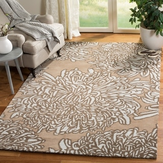 Martha Stewart by Safavieh Chrysanthemum Driftwood / Grey / Brown Wool Area Rug (9' x 12')