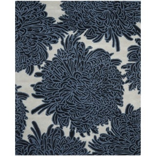 Martha Stewart by Safavieh Chrysanthemum Wrought Iron / Blue Wool Area Rug (9' x 12')