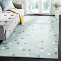 Martha Stewart by Safavieh Confetti Dot Sunken Pool / Blue Wool Area Rug - 8' x 10'