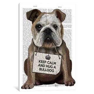 iCanvas 'Hug A Bulldog' by Fab Funky Canvas Print