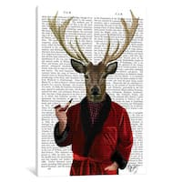 iCanvas 'Deer In Smoking Jacket' by Fab Funky Canvas Print