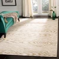 Martha Stewart by Safavieh Faux Bois White Birch / Beige Wool / Silk Area Rug (7'9 x 9'9)