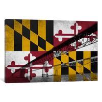 iCanvas State Flag Overlay Series: Maryland (Chesapeake Bay Bridge) by iCanvas Canvas Print