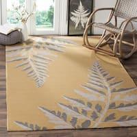 Martha Stewart by Safavieh Ferns Duck's Egg / Yellow Area Rug - 8' x 10'