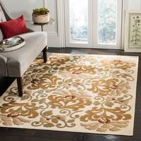 Martha Stewart by Safavieh Floating Dahlia Creme / Cream Viscose Area Rug - 8' x 11'2