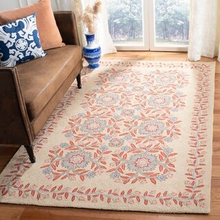 Martha Stewart by Safavieh Folklore Dune / Ivory / Red Wool Area Rug (9' x 12')
