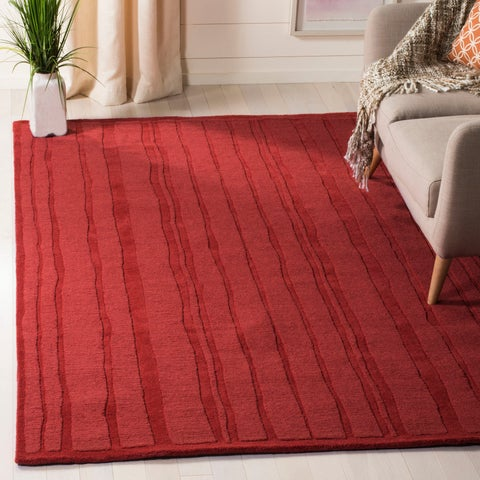 Martha Stewart by Safavieh Freehand Stripe Mossy Rock / Green Wool Area Rug - 8' x 10'