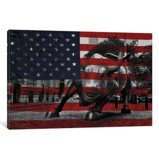 iCanvas 'New York - Wall Street Charging Bull, US Flag' by iCanvas 'Canvas Print