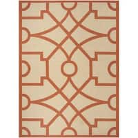 Martha Stewart by Safavieh Fretwork Terracotta / Beige / Brown Area Rug - 8' x 11'2