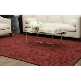 Martha Stewart by Safavieh Full Bloom Vermillion / Purple Wool Area Rug (8' x 10')