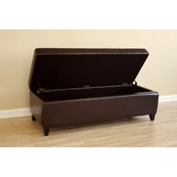 Contemporary Dark Brown Bi-Cast Leather Storage Bench