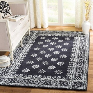 Martha Stewart by Safavieh Gracious Garden Weathervane / Navy / Ivory Wool Area Rug - 8' x 10'
