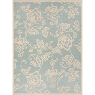 Martha Stewart by Safavieh Highland Lily Aqua / Beige / Blue / Beige Area Rug (8' x 11'2)