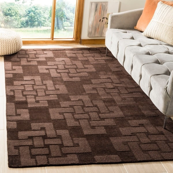 Martha Stewart by Safavieh Knot Chocolate Truffle / Brown Wool Area Rug - 8' x 10'