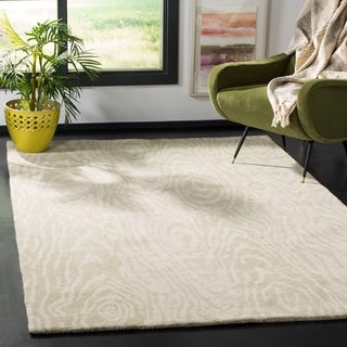 Martha Stewart by Safavieh Layered Faux Bois Potter's Clay / Grey / Green Wool Area Rug (9' x 12')